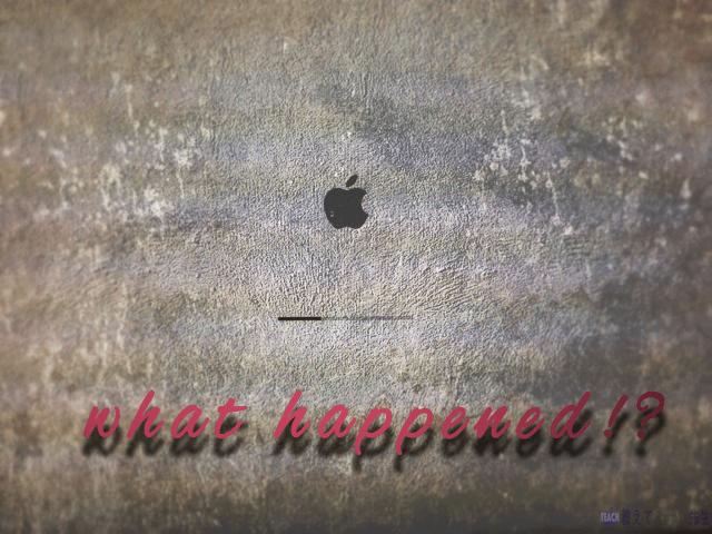 Mac OS Xのアップグレード中,Appleのロゴマークで止まった